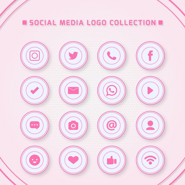 Icons for social networking with pink colors Premium Vector