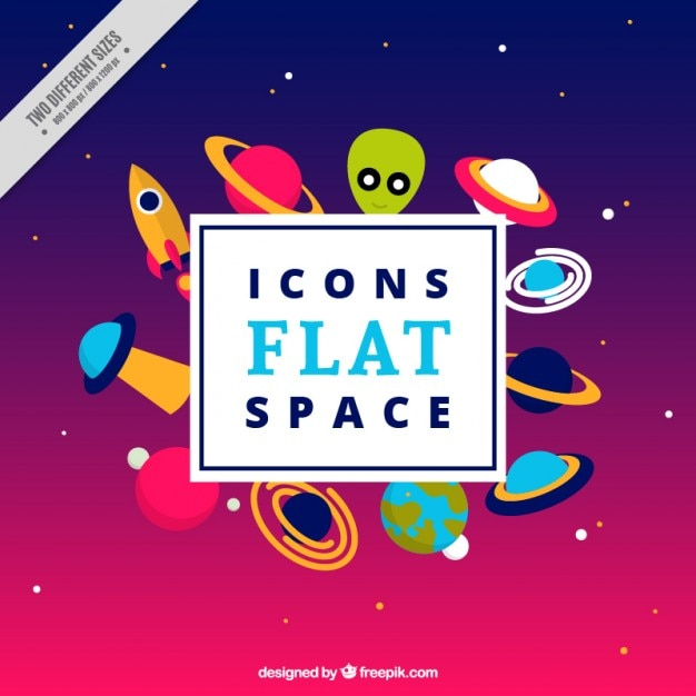 Icons space in flat design vector free download for Design a space online