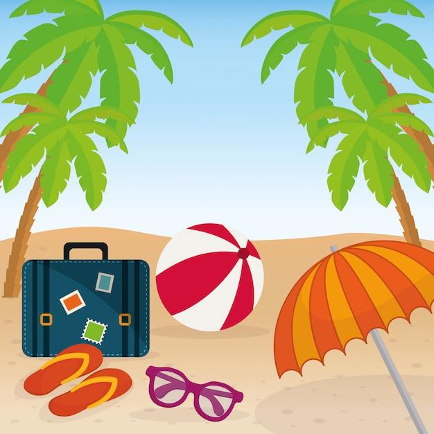 Icons of summer Premium Vector