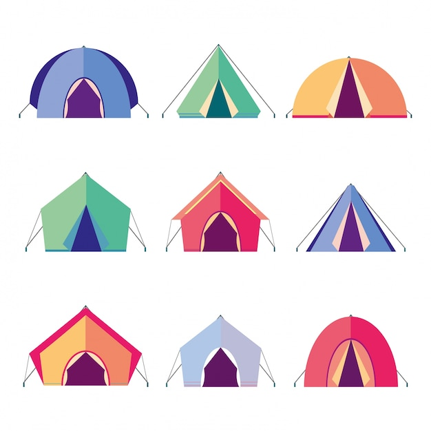 Icons tents Free Vector