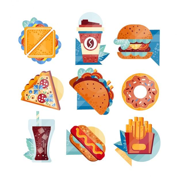 ファーストフードとドリンクのアイコン。サンドイッチ、コーヒー、ハンバーガー、ピザ、タコス、ドーナツ、ソーダ、ホットドッグ、フライドポテト。不健康な栄養 Premiumベクター