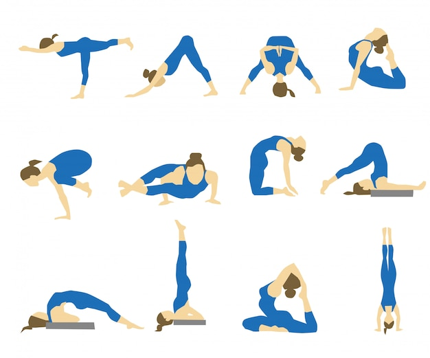 Icons with girl in yoga asanas. Premium Vector