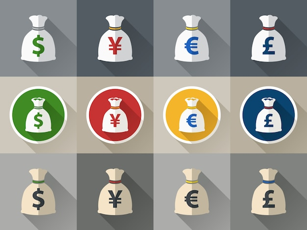 Icons with sacks of currency Free Vector