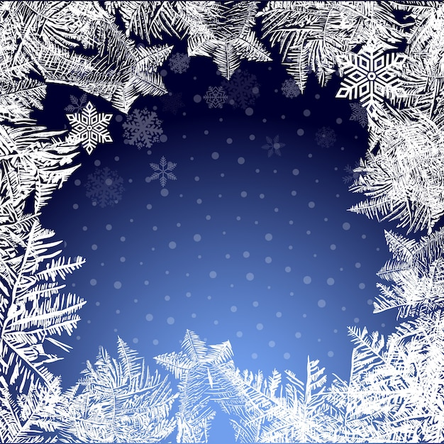Icy christmas background. snow and icicles Premium Vector