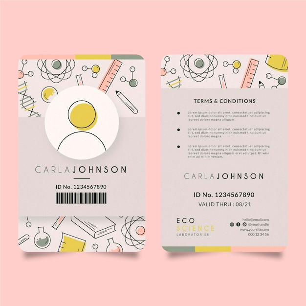Id card editorial template Free Vector