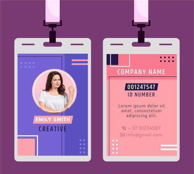 Id card in minimalistic style Premium Vector