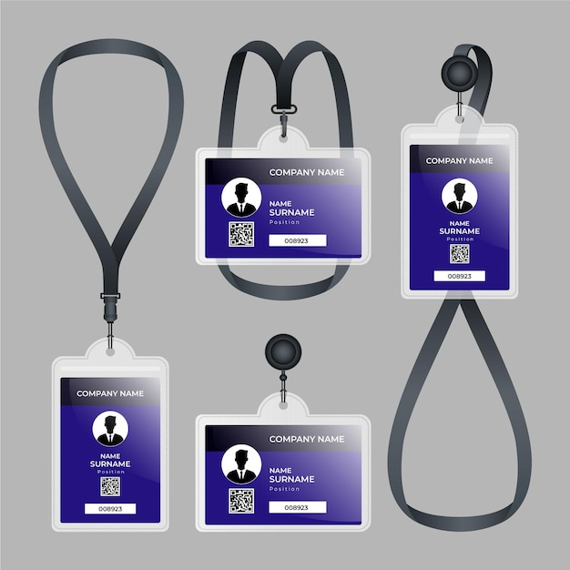 Id card stationery realistic design Free Vector