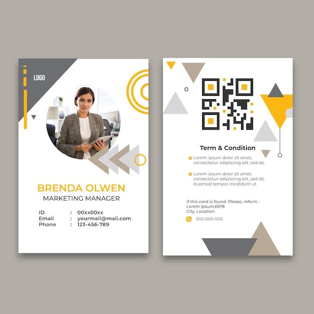 一般的なビジネス用のidカードテンプレート 無料ベクター