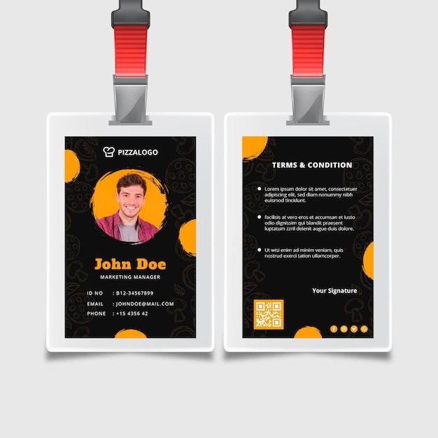 Modello di carta d'identità per ristorante di cucina italiana Vettore gratuito