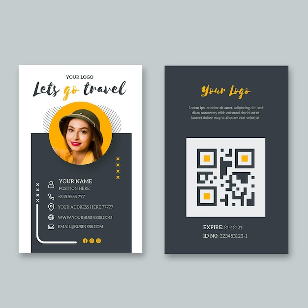 Id card template for last minute travel Free Vector