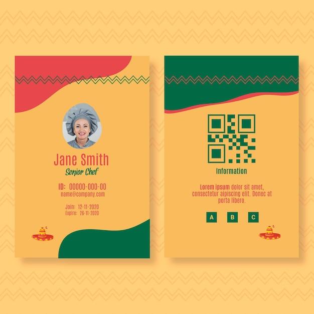 Modello di carta d'identità per ristorante di cucina messicana Vettore gratuito