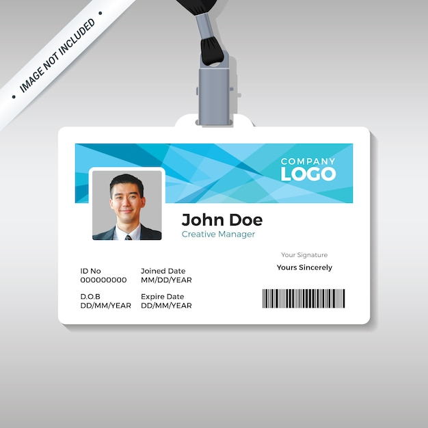 Id card template with abstract blue background Premium Vector