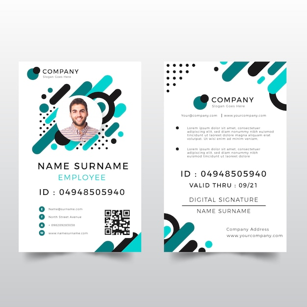 id card template with abstract style vector