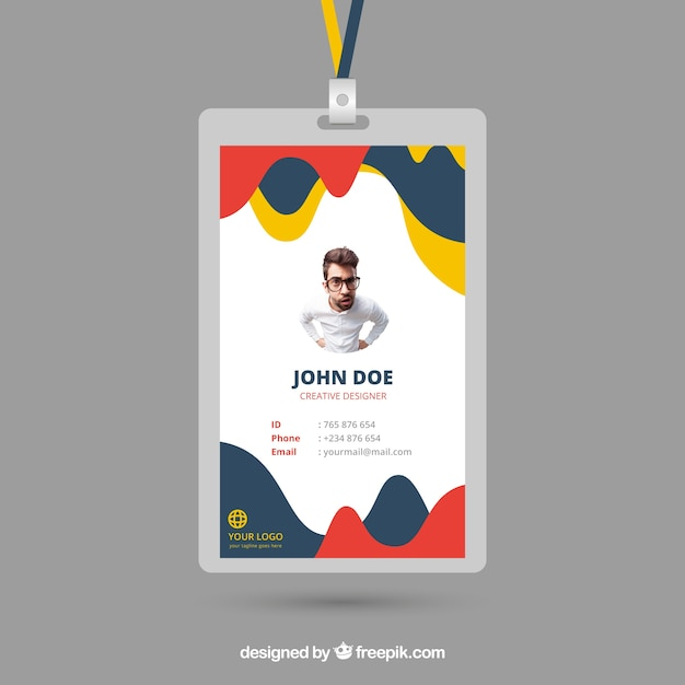 id card template with abstract style vector free download