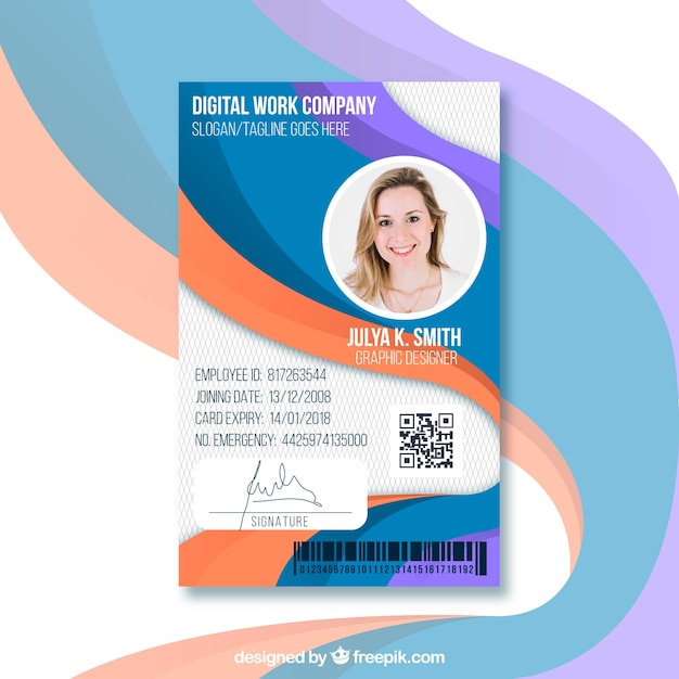 Id Card Template With Flat Design Vector