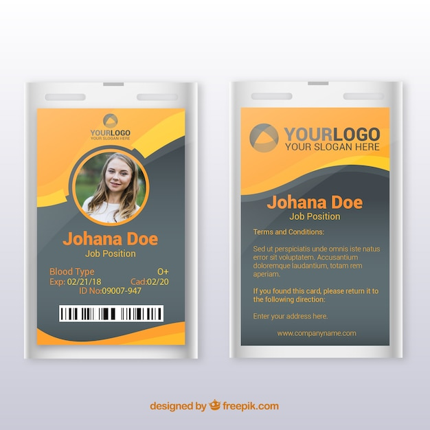 Id card template with flat design Vector | Free Download