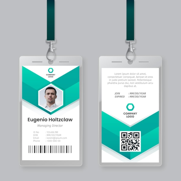Id cards template abstract style Free Vector
