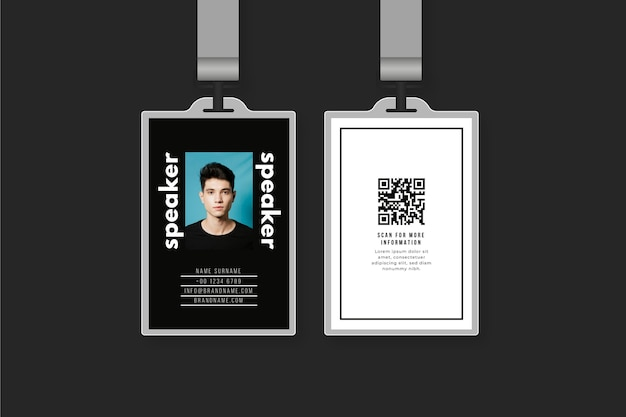 Id cards template design with photo Free Vector