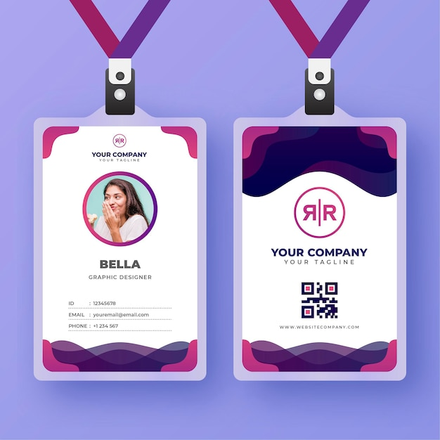 Id cards template with photo abstract style Free Vector