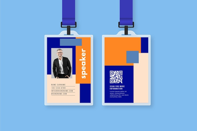 Id cards template with photo Free Vector