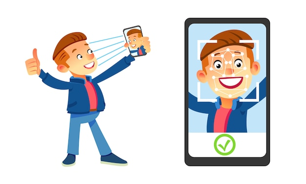 顔認識のコンセプト。顔id、顔認識システム。人間の頭と画面上のアプリをスキャンでスマートフォンを保持している男。最新のアプリケーション。 Premiumベクター