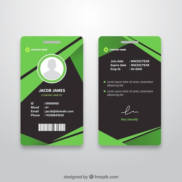 フラットデザインの抽象的なidカードテンプレート 無料ベクター