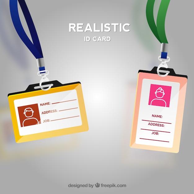 クラスプとストラップ付きの現実的なidカード 無料ベクター