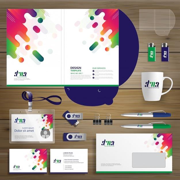 コーポレートビジネスデザインフォルダのテンプレートid Premiumベクター