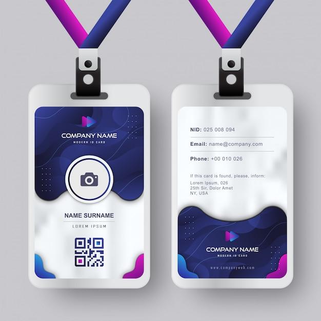 Современный шаблон id-карты с градиентным синим темно-синим абстрактным жидким дизайном Premium векторы