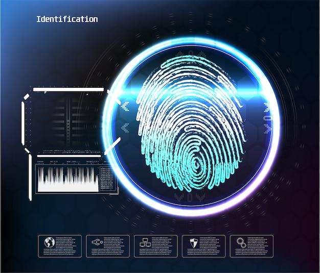 デジタル認識に直面し、idは安全なアクセスの抽象的な未来的なバイオメトリックスキャンに直面します。顔のデジタルスキャン、認識検証および識別の図 Premiumベクター