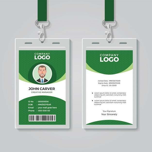 クリエイティブグリーン企業idカードテンプレート Premiumベクター