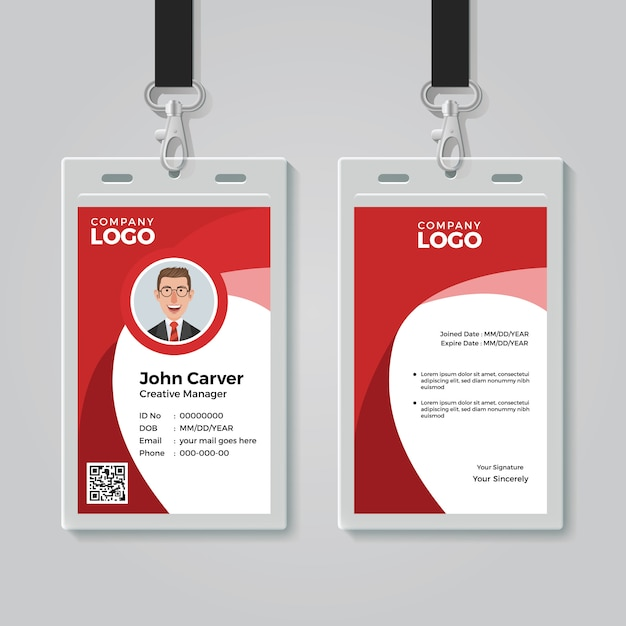 赤い企業idカードテンプレート Premiumベクター