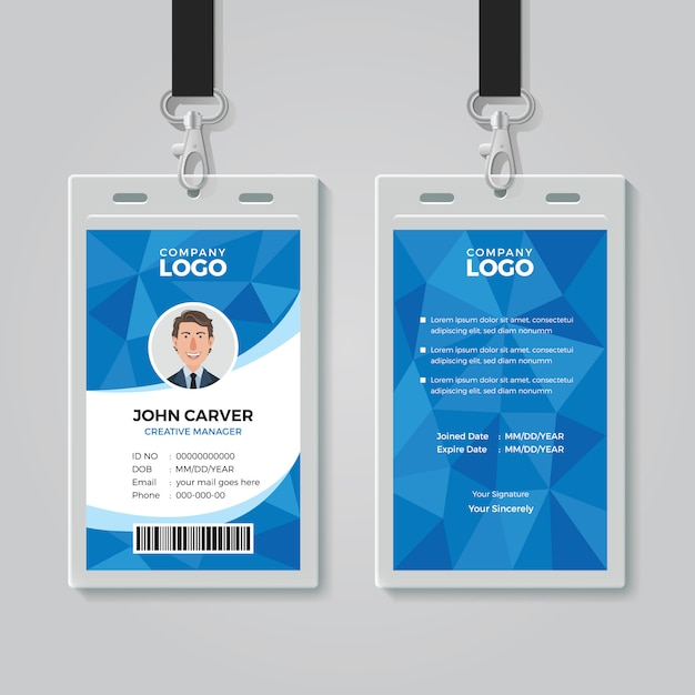 青ポリゴンのオフィスidカードテンプレート Premiumベクター