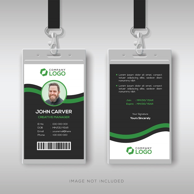 緑の詳細と企業idカードテンプレート Premiumベクター