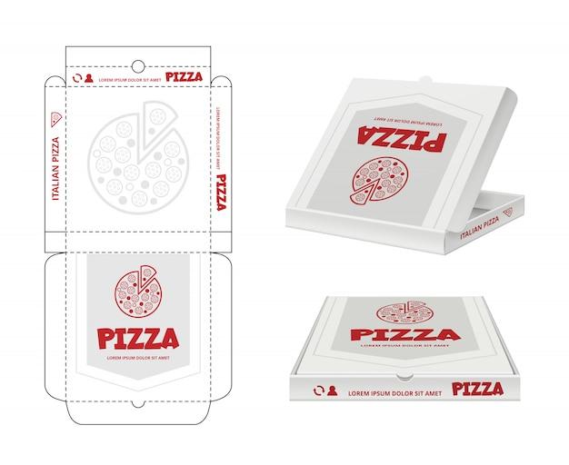 ピザの箱のデザイン。ファーストフードピザパッケージ現実的なテンプレートビジネスidのラップを解除 Premiumベクター