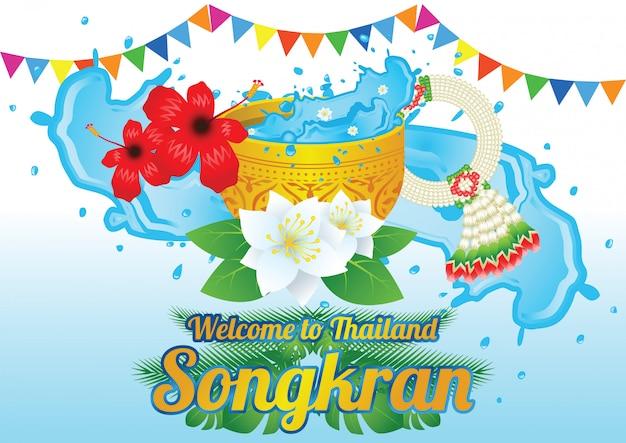 Idea art decorative of song kran day Premium Vector