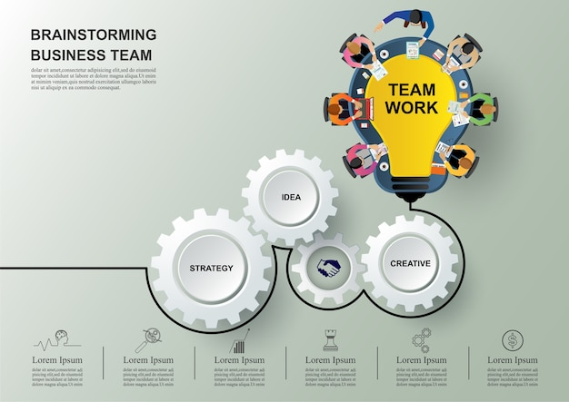 Idea and business concept for teamwork Premium Vector