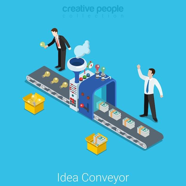 아이디어 컨베이어 평면 아이소 메트릭 사업 시작 개념 생산 공장 스트라이프 전구 아이디어 기호 달러 돈으로 변환. 무료 벡터