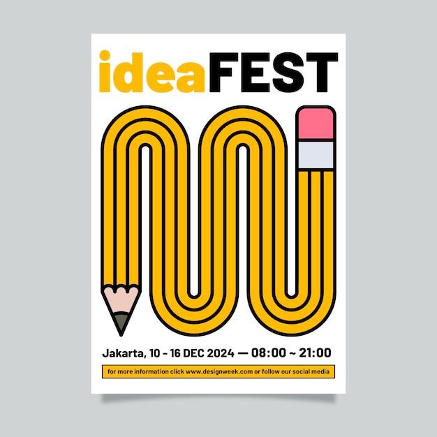 Шаблон плаката графического дизайна идеи фестиваля Бесплатные векторы