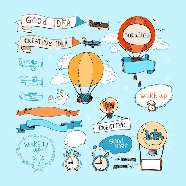 Идея рисованной элементов. лампочки, самолеты, воздушные шары и будильники в голубом небе. ленты баннеры Бесплатные векторы