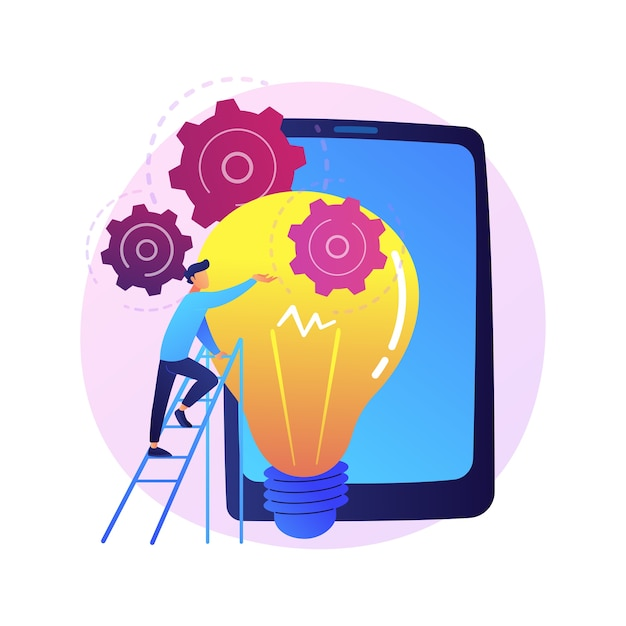 Idea implementation. launching startup, creative thinking, innovative solutions. businessman, investor, manager starting business project Free Vector