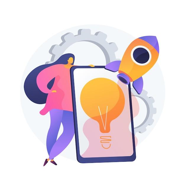Реализация идеи. запуск стартапа, креативное мышление, нестандартные решения. предприниматель, инвестор, менеджер, начинающий бизнес-проект. векторная иллюстрация изолированных концепции метафоры Бесплатные векторы