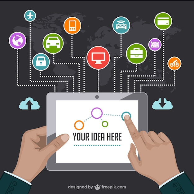 Idea infographic with a tablet and business application Free Vector