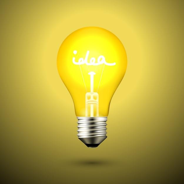 Idea light bulb lamp vector illustration on black Free Vector