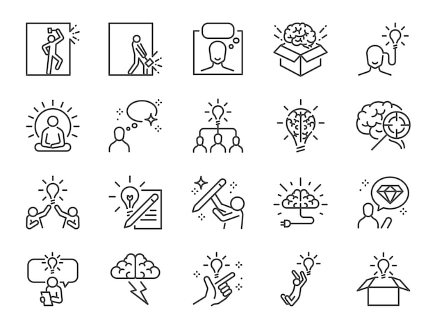 Idea line icon set. Premium Vector
