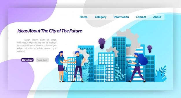 Ideas for a better city in the future, smart city mechanism and cooperation with hands shaking. landing page web template Premium Vector
