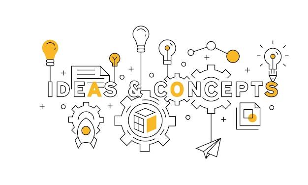 Ideas and concepts flat line design in orange Premium Vector