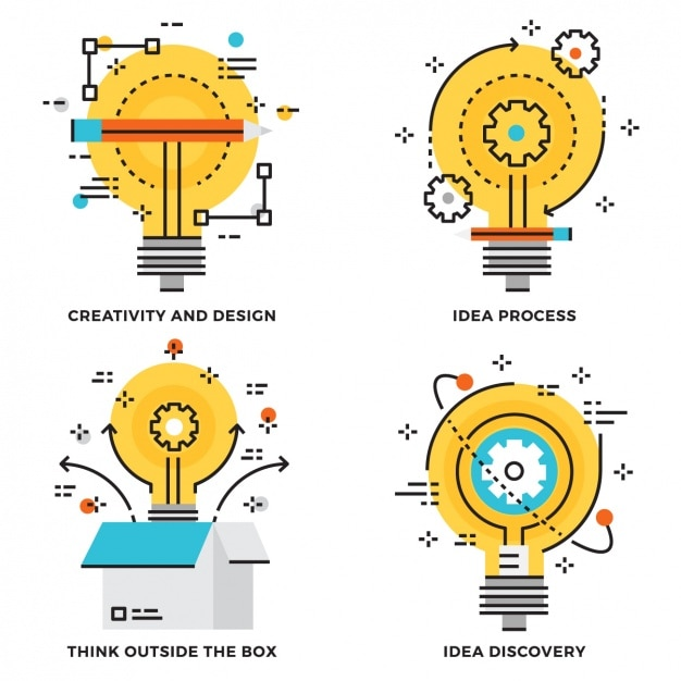 Ideas process designs collection Free Vector