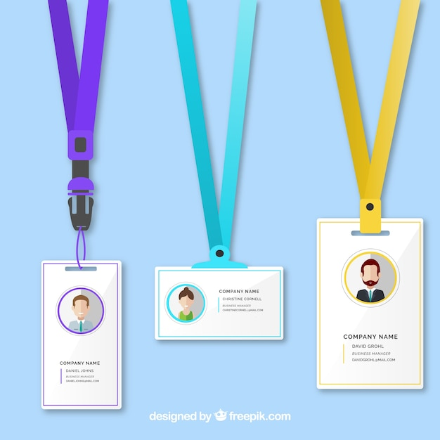 Identification card template Free Vector