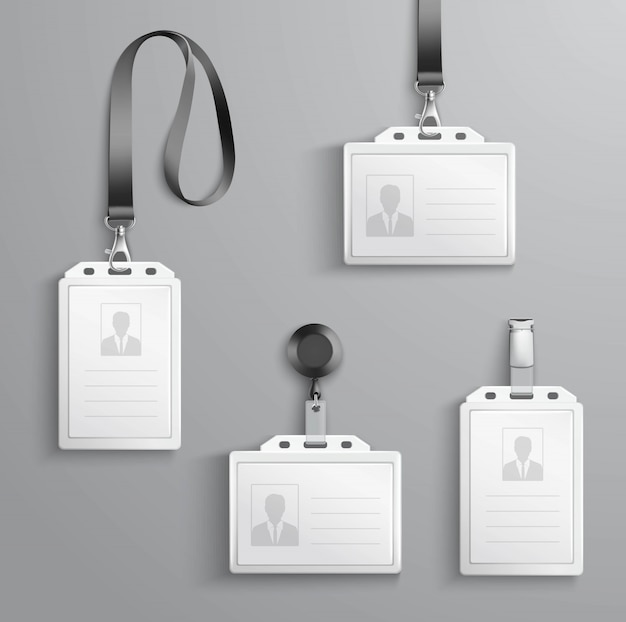 Identification cards set Free Vector